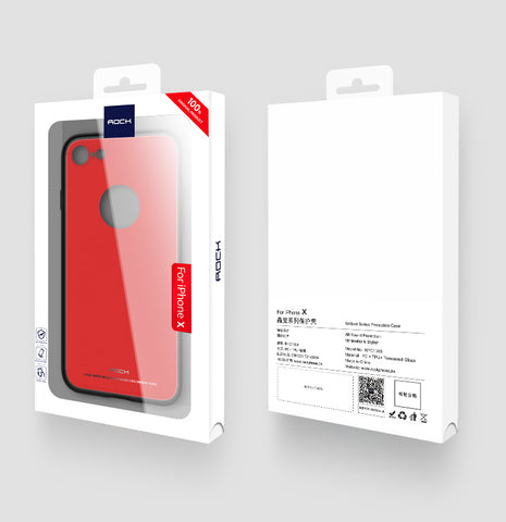 Apple iPhone X Brilliant Series Glass Protection Case (Red) - Rock