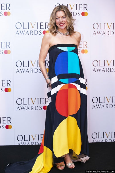 Actress Janie Dee wears Louisa Parris 'Tibor' strapless dress at the 2019 Olivier Awards in London