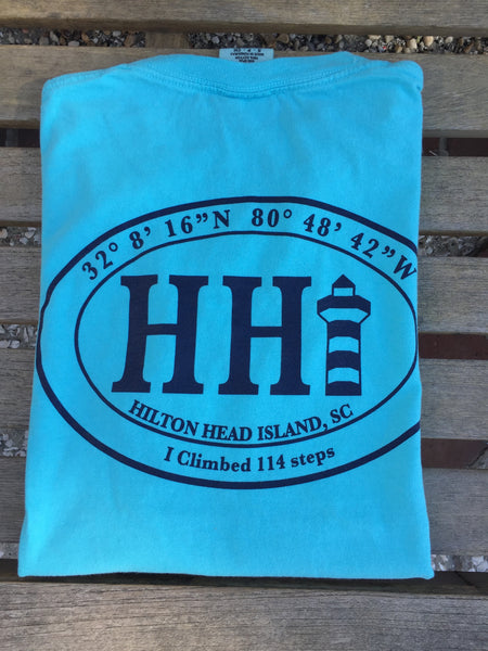 I Climb 114 Steps T-shirt *Lagoon Blue*