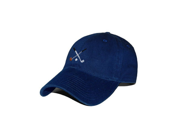 Crossed Clubs Needlepoint Hat (Navy)