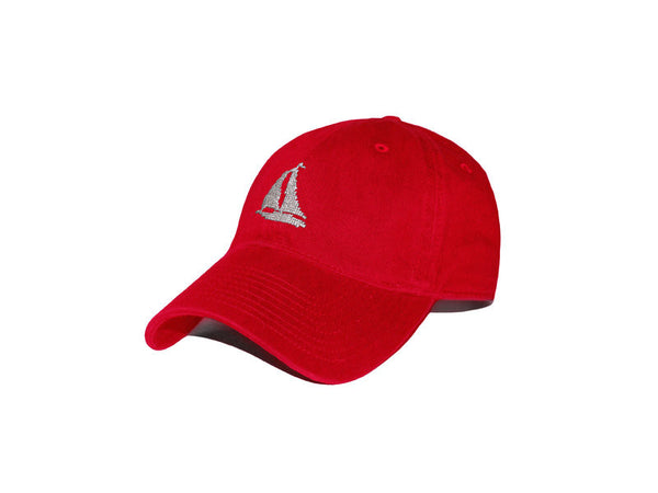 Heathered Sailboat Needlepoint Hat (Red)