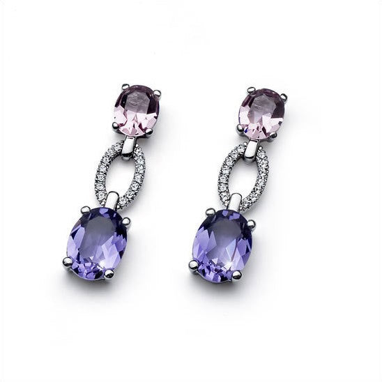 Earrings World rhod. tanzanite