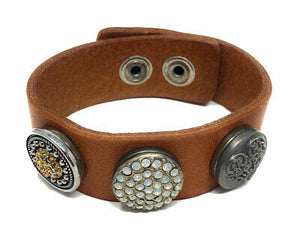Ginger Snaps 3-Snap Light Brown Leather Bracelet - 3 Snaps Included