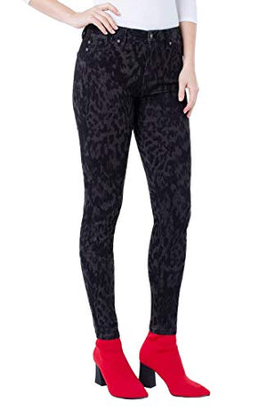 Liverpool Women's Abby Skinny Jeans Licorice Animal Print LM2000GXP44