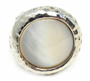Simon Sebbag Sterling Silver Hammered Tahitian Pearl Ring RS10-WTP