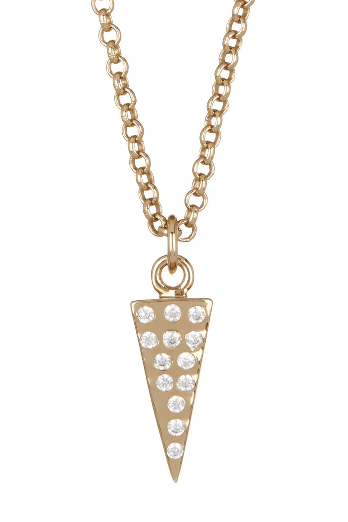 Melinda Maria Single Pyramid Pave Necklace Gold White CZ N4040GWT