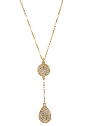 Melinda Maria Clarence Pave Necklace Gold White CZ N4315GWTCZ