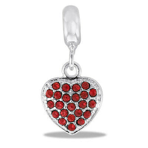 DaVinci Beads Silver Dangle Heart With Red Stones Jewelry DB11-5