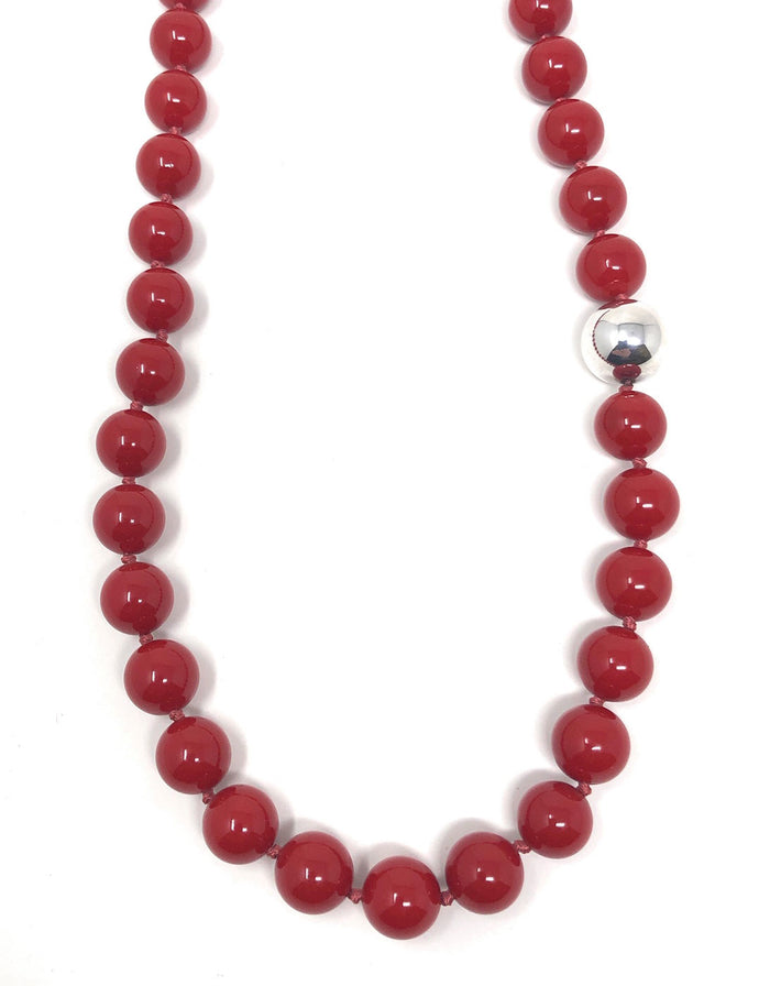 Simon Sebbag Red Coated Shell Beads w/Silver Bead Accent NB101/RCS24