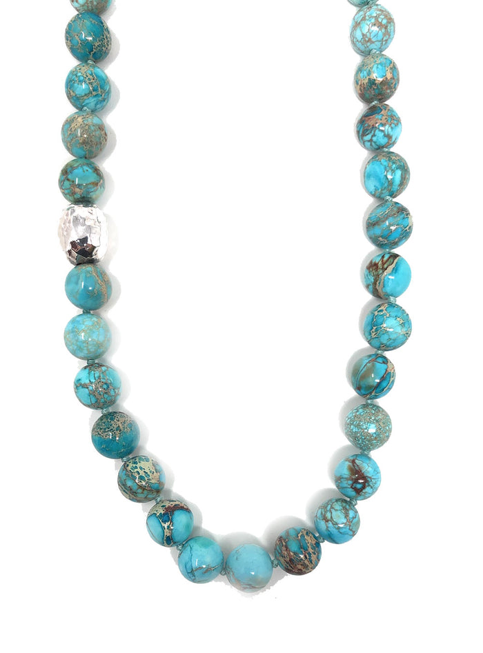 Simon Sebbag Turquoise Jasper Beads w/Silver Bead Accent NB105/TQIJ24