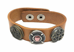 Ginger Snaps 3-Snap Lt. Brown Leather Bracelet - 3 Snaps Included