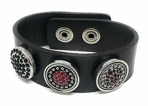 Ginger Snaps 3-Snap Dark Brown Leather Bracelet - 3 Snaps Included