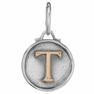 "Waxing Poetic Women's Chancery Insignia Letter ""T"" Charm"