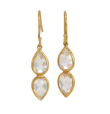 Melinda Maria June Stone Gold Earrings White CZ