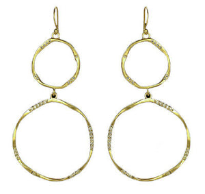 Be-Je Designs Women's Gold Double Circle Earrings