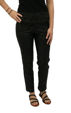 Krazy Larry Black Python Pull On Ankle Pants