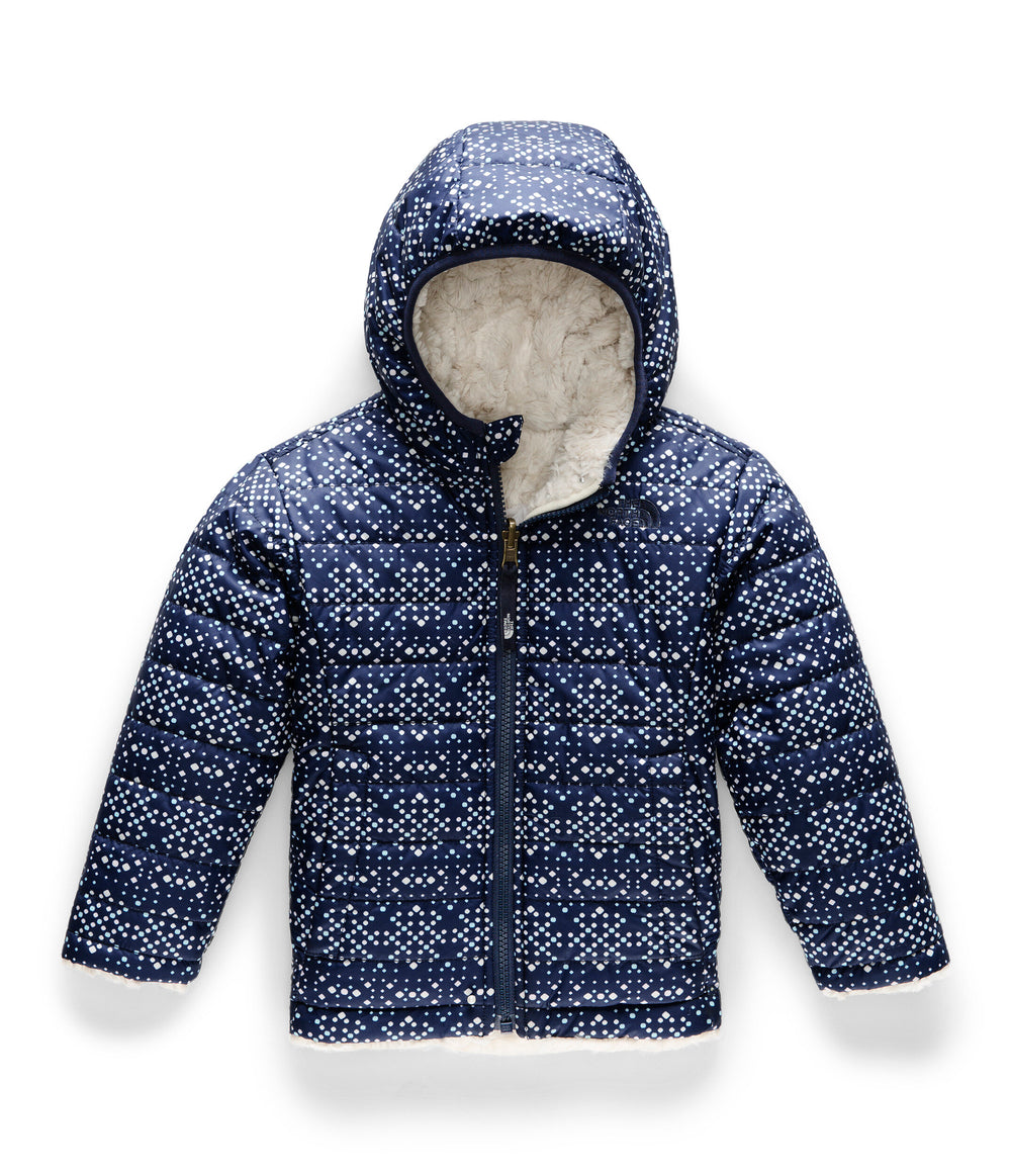 TODDLER GIRL REVERSIBLE MOSSBUD SWIRL JACKET  Montague Blue Sparkle Geo Print