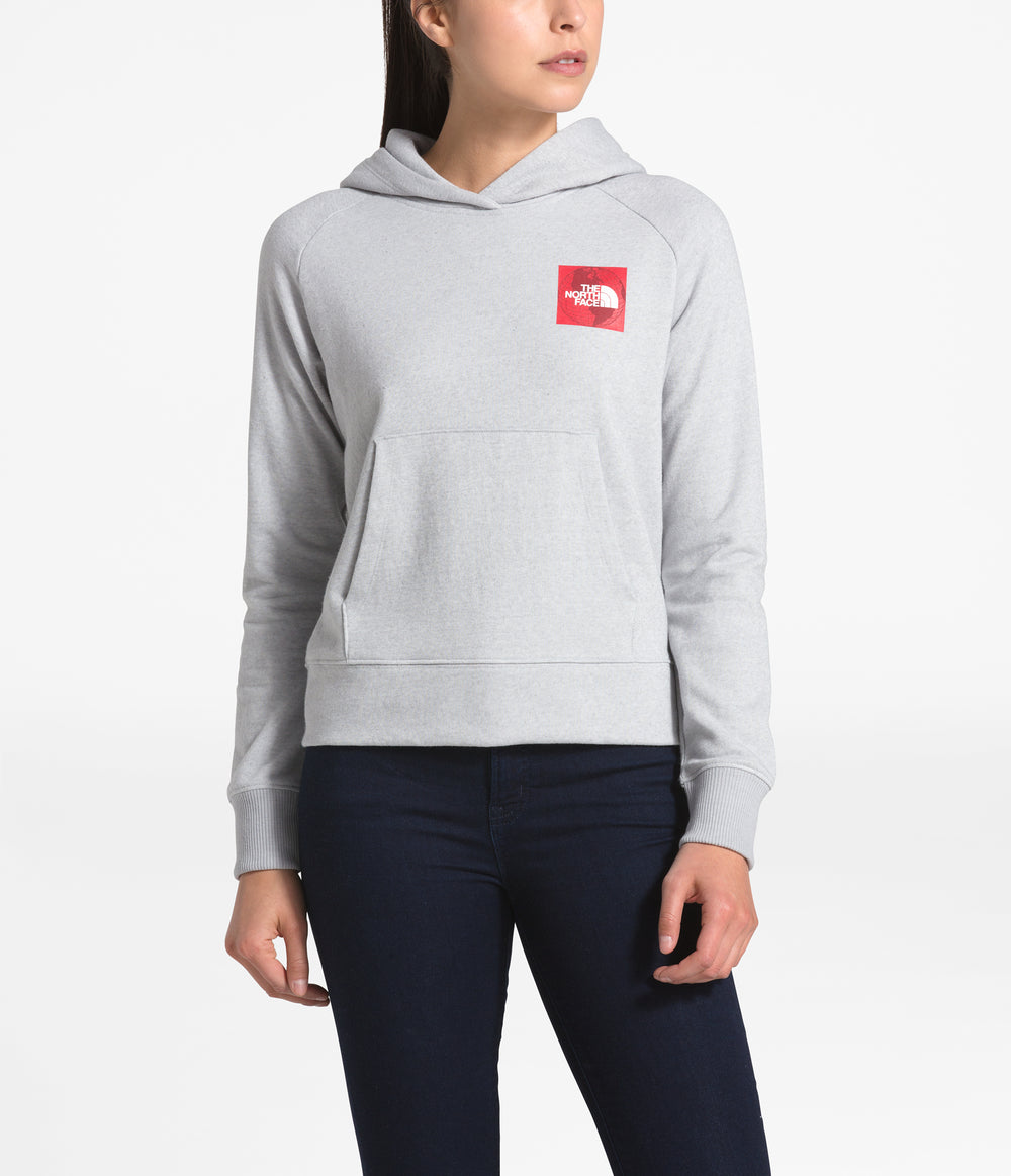 WOMEN RECYCLED MATERIALS PULL OVER HOODIE TNF Light Grey Heather/TNF Red