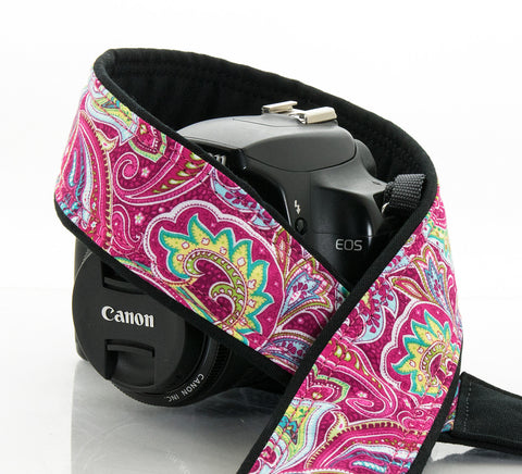 057 Camera Strap Hot Pink Paisley dslr slr - ten8e Camera Straps - 1