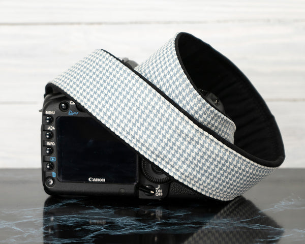 Camera Strap Blue-grey Houndstooth - ten8e Camera Straps