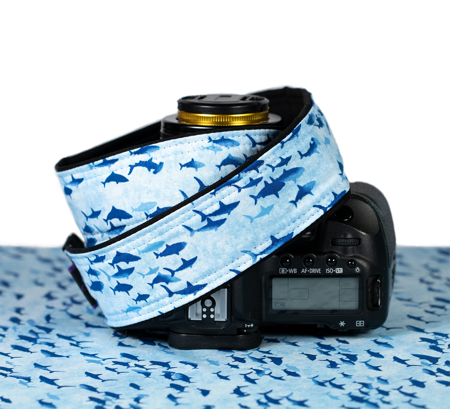 340 Camera Strap Blue Sharks dSLR - ten8e Camera Straps
