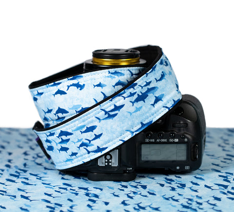 Blue Sharks dSLR Camera Strap - ten8e Camera Straps