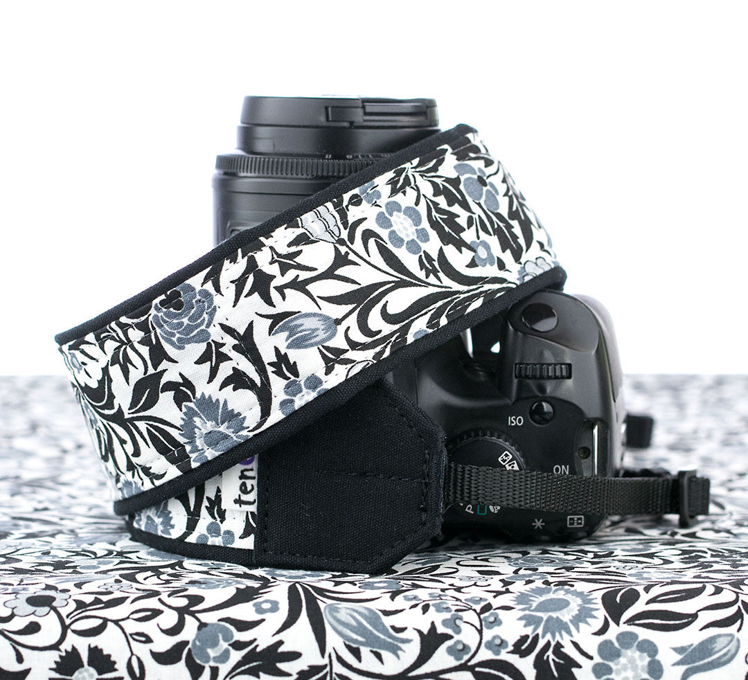 026 Camera Strap Black and White Floral - ten8e Camera Straps