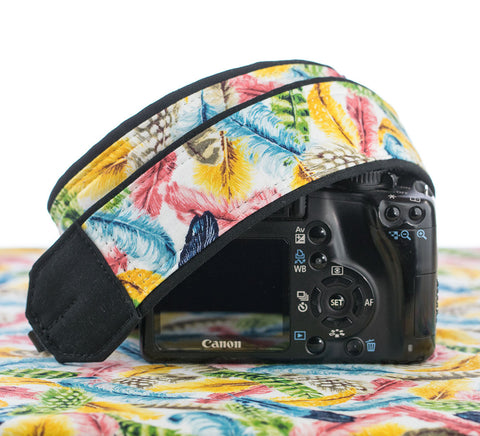 Camera Strap Colorful Feathers - ten8e Camera Straps