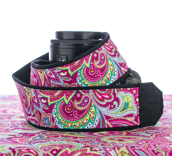 057 Camera Strap Hot Pink Paisley dslr slr - ten8e Camera Straps