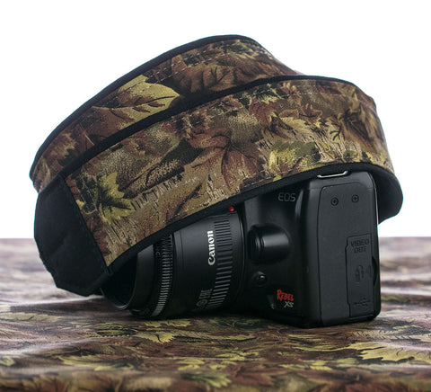 016 Camo Leaves Camera Strap - ten8e Camera Straps