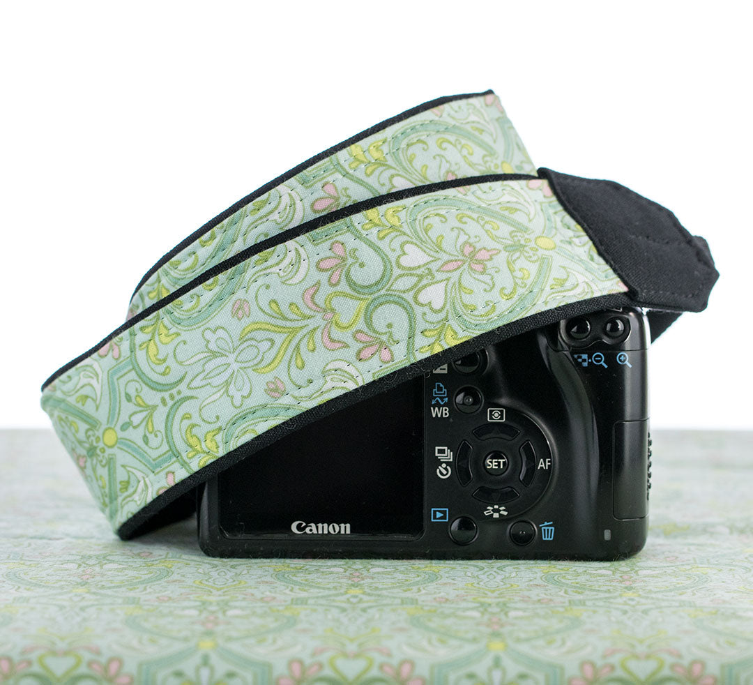 Mint Damask Camera Strap - ten8e Camera Straps