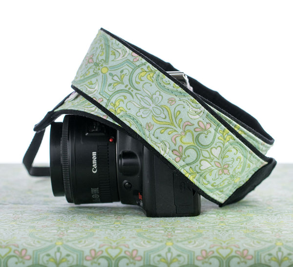 171 Mint Damask Camera Strap - ten8e Camera Straps