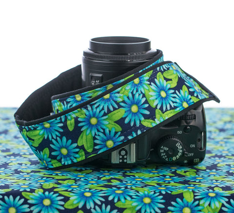 055 Camera Strap Blue Daisy - ten8e Camera Straps