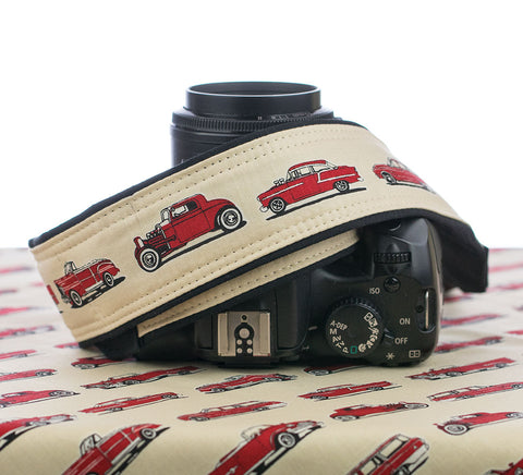 Camera Strap Red Vintage Cars - ten8e Camera Straps