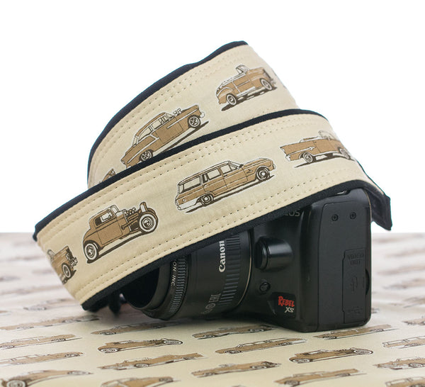 289 Vintage Cars Camera Strap Tan - ten8e Camera Straps