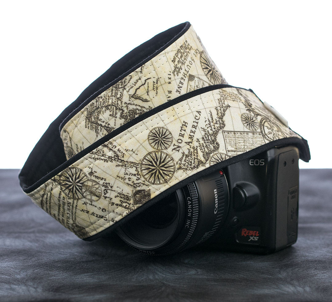 Camera Strap Old World Map - ten8e Camera Straps