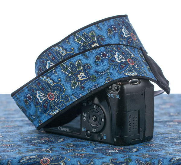 091 Camera Strap Blue Paisley Butterfly - ten8e Camera Straps