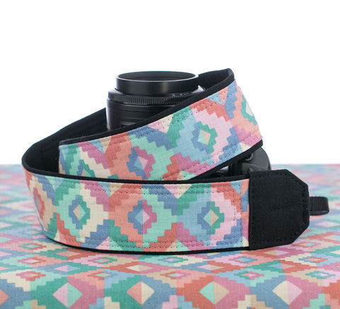 168 Pastel Southwest Camera Strap - ten8e Camera Straps