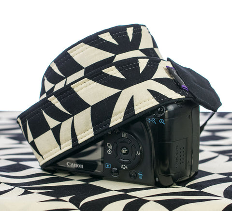 Camera Strap Black and Antique White Tiki dSLR - ten8e Camera Straps