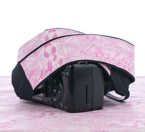 181 Pink Ribbons Camera Strap - ten8e Camera Straps
