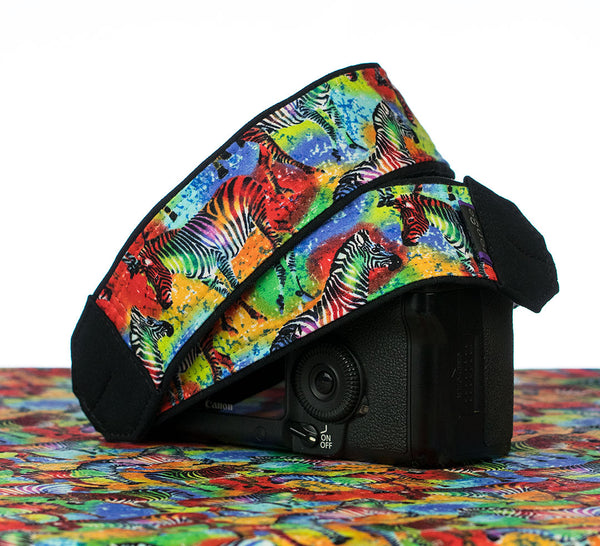 298 Zebra Rainbow Camera Strap - ten8e Camera Straps