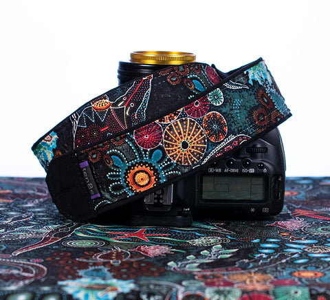 Camera Strap Teal Aboriginal Sea Creatures - ten8e Camera Straps