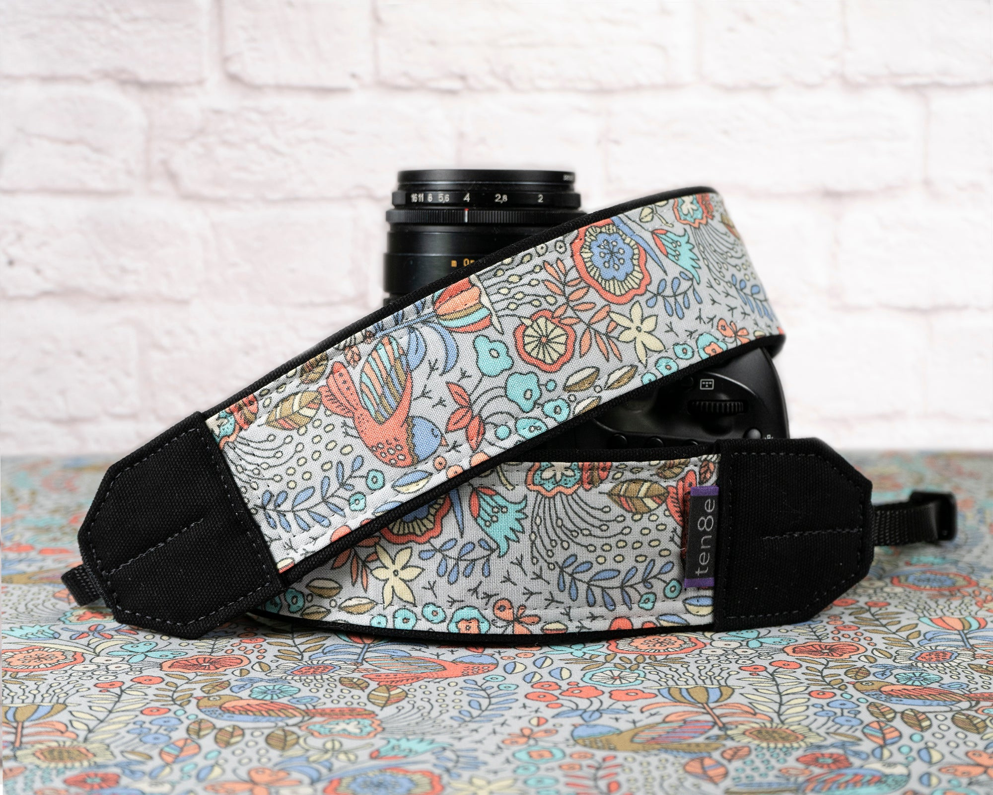 359 Folk Art Birds Camera Strap - ten8e Camera Straps