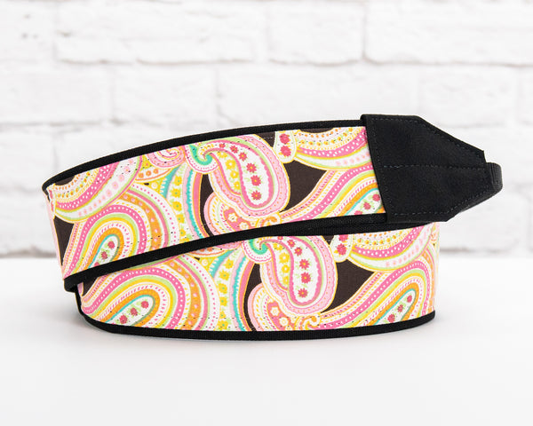 042 Camera Strap Lt Pink Paisley - ten8e Camera Straps