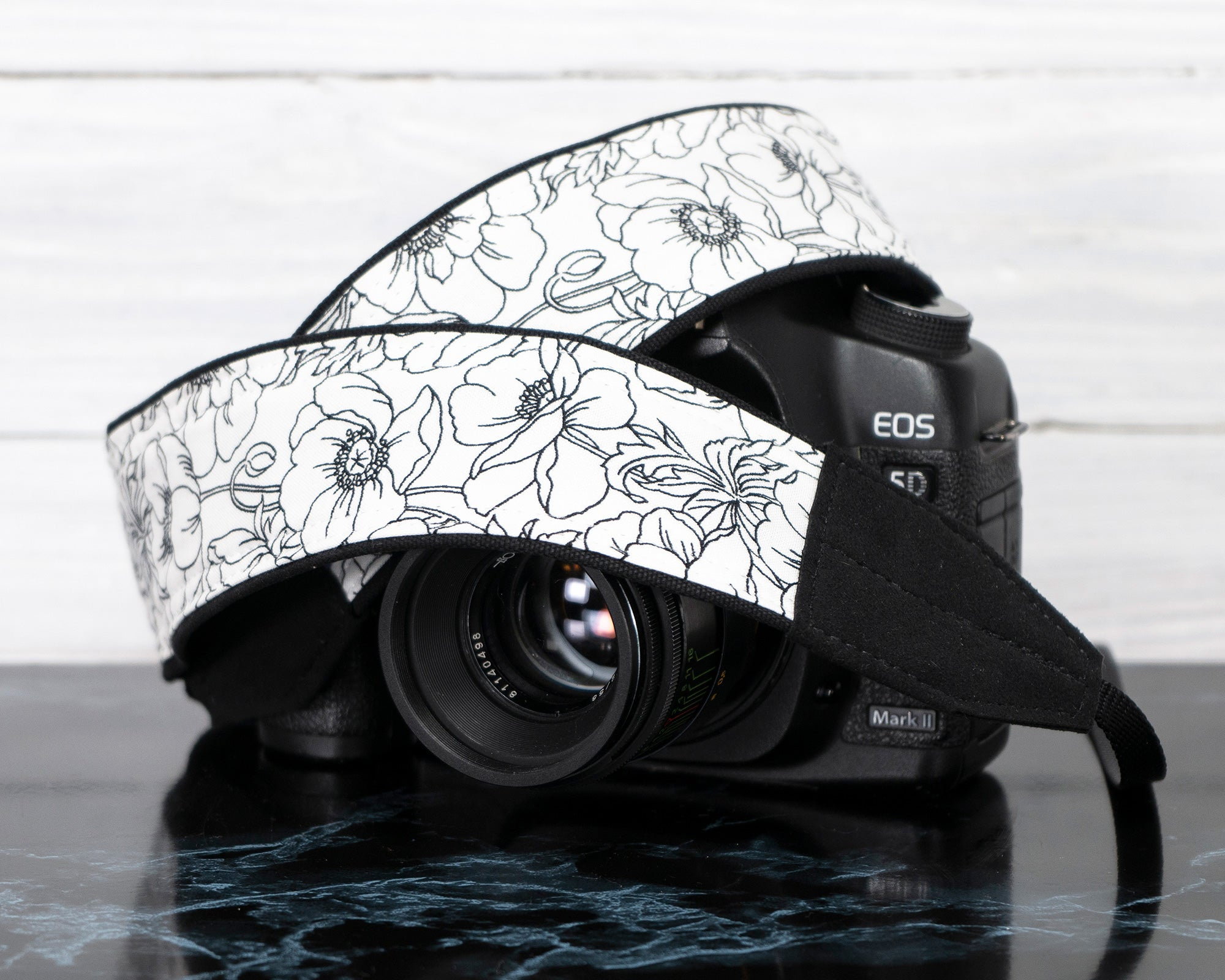 Camera Strap Floral Black and White - ten8e Camera Straps