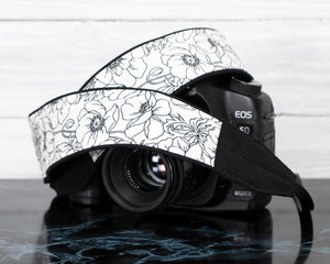387 Camera Strap Floral Black and White - ten8e Camera Straps