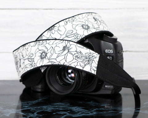 Black and White Floral Camera Strap - ten8e Camera Straps
