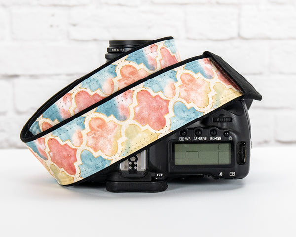 398 Camera Strap Quatrefoil in Pastel - ten8e Camera Straps