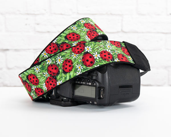 007 Camera Strap Ladybug Personalized dSLR  SLR - ten8e Camera Straps