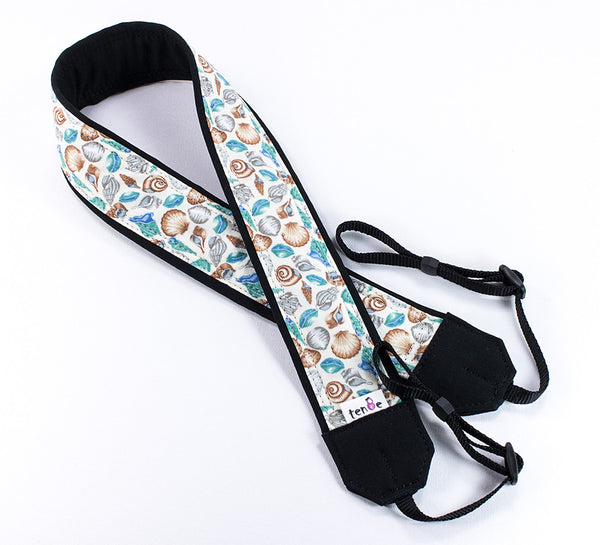 094 Camera Strap Seashells, dSLR, SLR or Mirrorless - ten8e Camera Straps